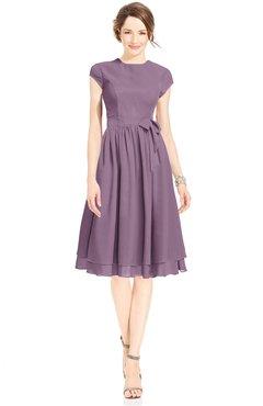 ColsBM Jane Mauve Mature Fit-n-Flare High Neck Zip up Chiffon Bridesmaid Dresses