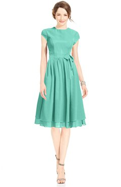 ColsBM Jane Mint Green Mature Fit-n-Flare High Neck Zip up Chiffon Bridesmaid Dresses
