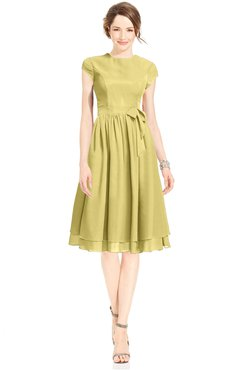 ColsBM Jane Misted Yellow Mature Fit-n-Flare High Neck Zip up Chiffon Bridesmaid Dresses