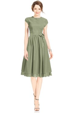 ColsBM Jane Moss Green Mature Fit-n-Flare High Neck Zip up Chiffon Bridesmaid Dresses