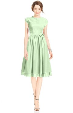 ColsBM Jane Pale Green Mature Fit-n-Flare High Neck Zip up Chiffon Bridesmaid Dresses