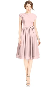 ColsBM Jane Pastel Pink Mature Fit-n-Flare High Neck Zip up Chiffon Bridesmaid Dresses