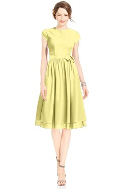 ColsBM Jane Pastel Yellow Mature Fit-n-Flare High Neck Zip up Chiffon Bridesmaid Dresses