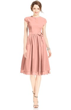 ColsBM Jane Peach Mature Fit-n-Flare High Neck Zip up Chiffon Bridesmaid Dresses