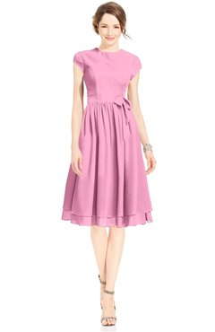 ColsBM Jane Pink Mature Fit-n-Flare High Neck Zip up Chiffon Bridesmaid Dresses