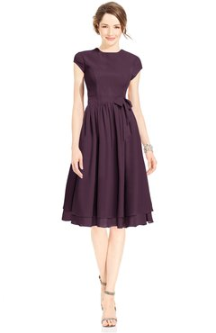ColsBM Jane Plum Mature Fit-n-Flare High Neck Zip up Chiffon Bridesmaid Dresses