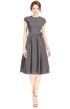 ColsBM Jane Ridge Grey Mature Fit-n-Flare High Neck Zip up Chiffon Bridesmaid Dresses