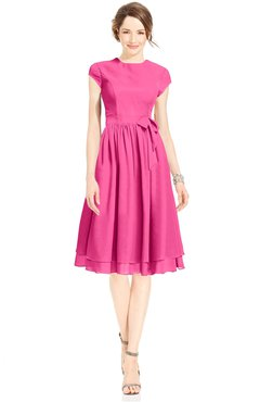 ColsBM Jane Rose Pink Mature Fit-n-Flare High Neck Zip up Chiffon Bridesmaid Dresses