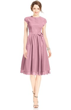 ColsBM Jane Rosebloom Mature Fit-n-Flare High Neck Zip up Chiffon Bridesmaid Dresses