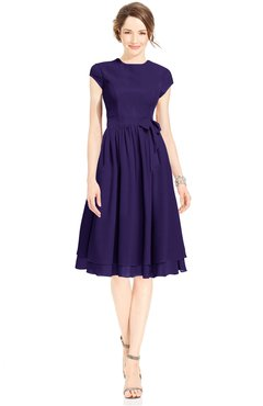ColsBM Jane Royal Purple Mature Fit-n-Flare High Neck Zip up Chiffon Bridesmaid Dresses