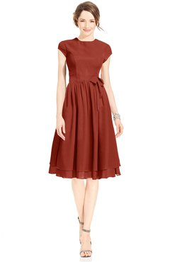ColsBM Jane Rust Mature Fit-n-Flare High Neck Zip up Chiffon Bridesmaid Dresses