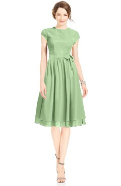 ColsBM Jane Sage Green Mature Fit-n-Flare High Neck Zip up Chiffon Bridesmaid Dresses