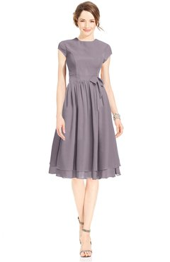 ColsBM Jane Sea Fog Mature Fit-n-Flare High Neck Zip up Chiffon Bridesmaid Dresses