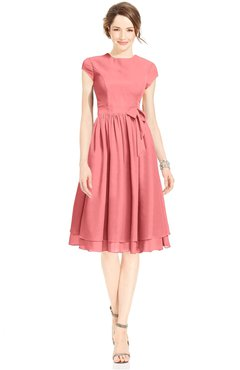 ColsBM Jane Shell Pink Mature Fit-n-Flare High Neck Zip up Chiffon Bridesmaid Dresses