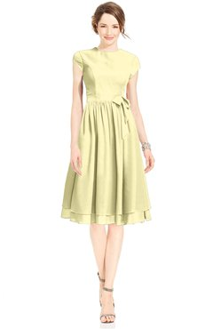 ColsBM Jane Soft Yellow Mature Fit-n-Flare High Neck Zip up Chiffon Bridesmaid Dresses
