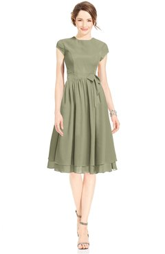 ColsBM Jane Sponge Mature Fit-n-Flare High Neck Zip up Chiffon Bridesmaid Dresses