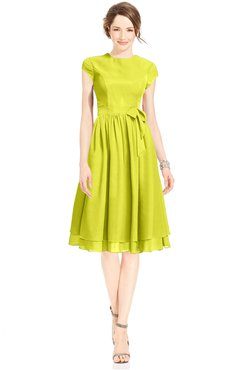 ColsBM Jane Sulphur Spring Mature Fit-n-Flare High Neck Zip up Chiffon Bridesmaid Dresses