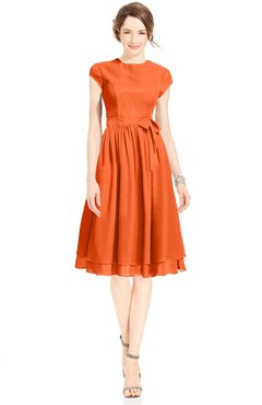 ColsBM Jane Tangerine Mature Fit-n-Flare High Neck Zip up Chiffon Bridesmaid Dresses