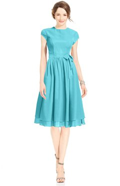 ColsBM Jane Turquoise Mature Fit-n-Flare High Neck Zip up Chiffon Bridesmaid Dresses