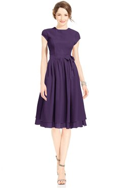 ColsBM Jane Violet Mature Fit-n-Flare High Neck Zip up Chiffon Bridesmaid Dresses