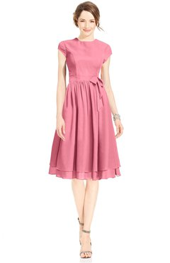 ColsBM Jane Watermelon Mature Fit-n-Flare High Neck Zip up Chiffon Bridesmaid Dresses