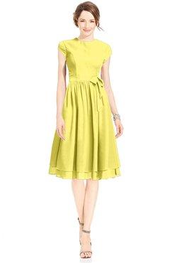ColsBM Jane Yellow Iris Mature Fit-n-Flare High Neck Zip up Chiffon Bridesmaid Dresses