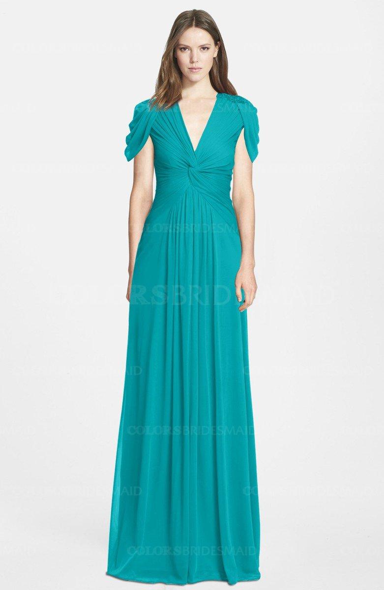aedb33cacd0 ColsBM Rosie Peacock Blue Elegant A-line V-neck Short Sleeve Zip up  Bridesmaid