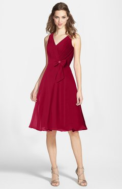 ColsBM Elsie Maroon  Zipper Chiffon Knee Length Bow Bridesmaid Dresses