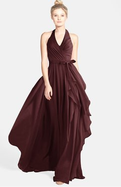ColsBM Anya Burgundy Glamorous A-line Sleeveless Zip up Chiffon Ribbon Bridesmaid Dresses