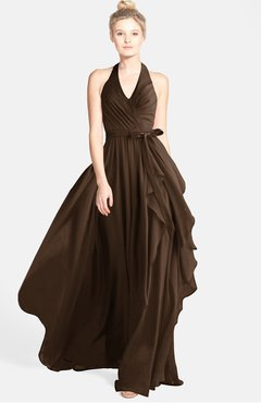 ColsBM Anya Chocolate Brown Glamorous A-line Sleeveless Zip up Chiffon Ribbon Bridesmaid Dresses