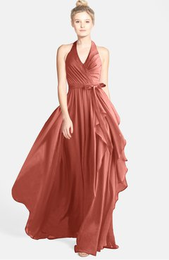 ColsBM Anya Crabapple Glamorous A-line Sleeveless Zip up Chiffon Ribbon Bridesmaid Dresses