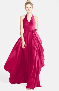 ColsBM Anya Fuschia Glamorous A-line Sleeveless Zip up Chiffon Ribbon Bridesmaid Dresses