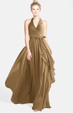 f489c3959ed7 ColsBM Anya Indian Tan Glamorous A-line Sleeveless Zip up Chiffon Ribbon Bridesmaid  Dresses