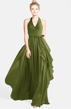 6855b00f808 ColsBM Anya Olive Green Glamorous A-line Sleeveless Zip up Chiffon Ribbon  Bridesmaid Dresses