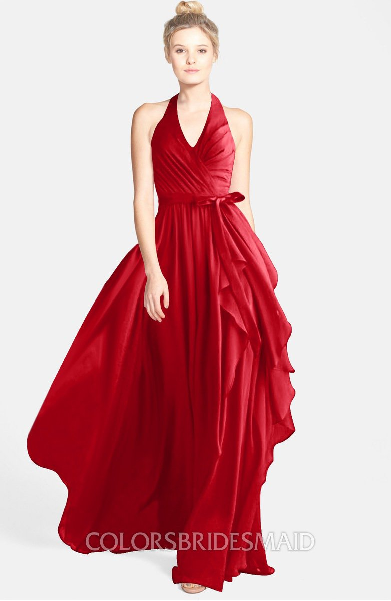 8c28992c11c4 ColsBM Anya Red Glamorous A-line Sleeveless Zip up Chiffon Ribbon  Bridesmaid Dresses