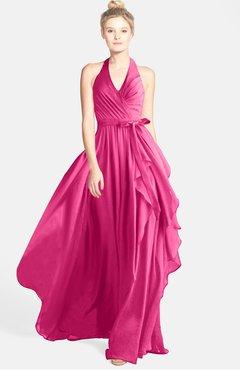 ColsBM Anya Rose Pink Glamorous A-line Sleeveless Zip up Chiffon Ribbon Bridesmaid Dresses
