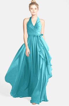 4418fc33aef8 Turquoise · ColsBM Anya Coral Glamorous A-line Sleeveless Zip up Chiffon  Ribbon Bridesmaid Dresses