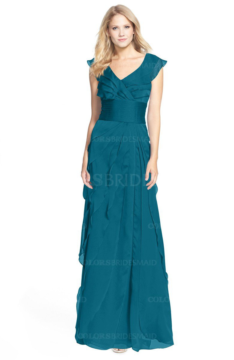 Midnight Blue Gorgeous A-line V-neck Chiffon30 Floor ...