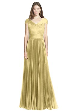 ColsBM Bryanna Gold Classic Fit-n-Flare V-neck Short Sleeve Zip up Chiffon Bridesmaid Dresses