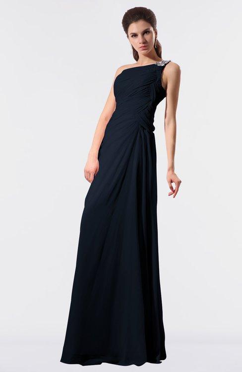 ColsBM Moriah Navy Blue Simple Sheath Sleeveless Chiffon Floor Length Sequin Bridesmaid Dresses