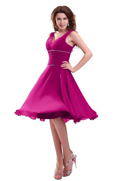 Pink Informal Wedding Dresses : Hot pink informal zipper chiffon knee length sequin