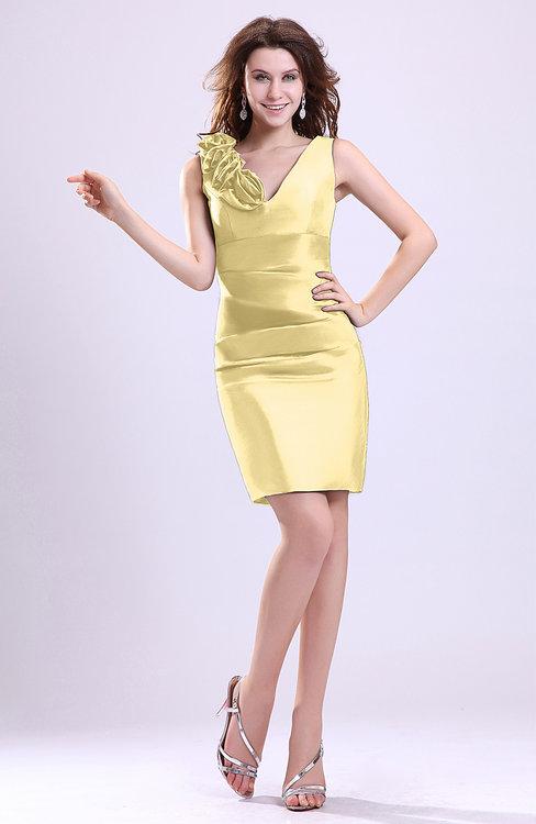 024b17a85e6 ColsBM Myra Light Yellow Modest Column Sleeveless Taffeta Ruching  Graduation Dresses