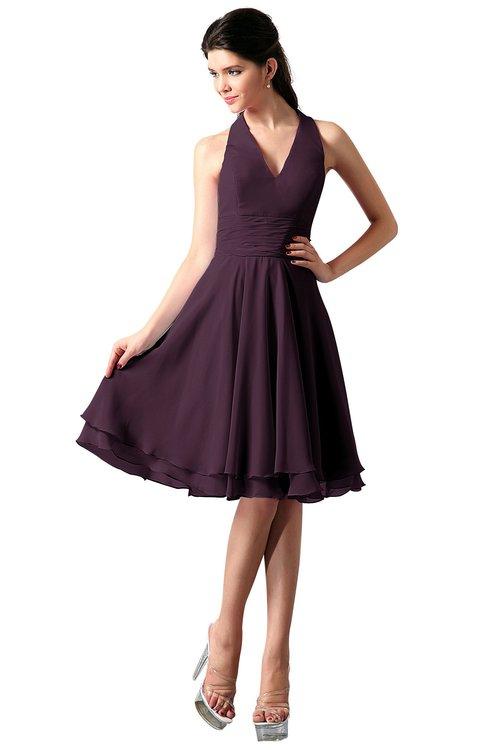 ColsBM Holly Plum Simple A-line Sleeveless Zipper Chiffon Graduation Dresses