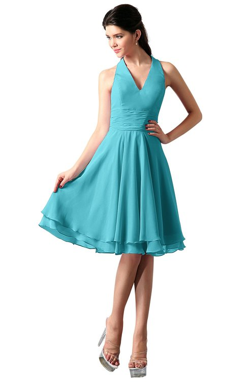 ColsBM Holly Turquoise Simple A-line Sleeveless Zipper Chiffon Graduation Dresses
