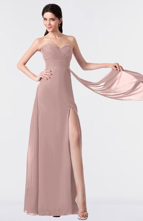 ColsBM Vivian Blush Pink Modern A-line Sleeveless Backless Split-Front Bridesmaid Dresses