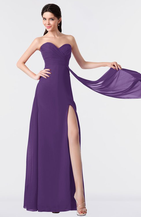 ColsBM Vivian Dark Purple Modern A-line Sleeveless Backless Split-Front Bridesmaid Dresses