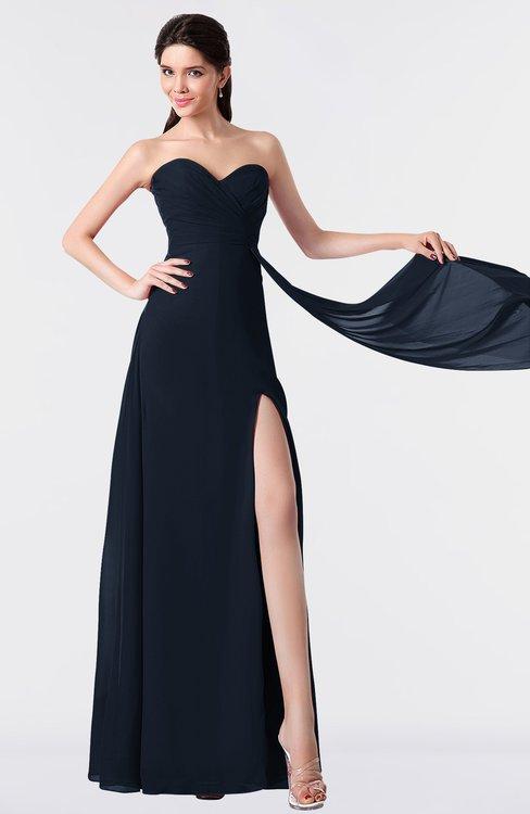 ColsBM Vivian Navy Blue Modern A-line Sleeveless Backless Split-Front Bridesmaid Dresses