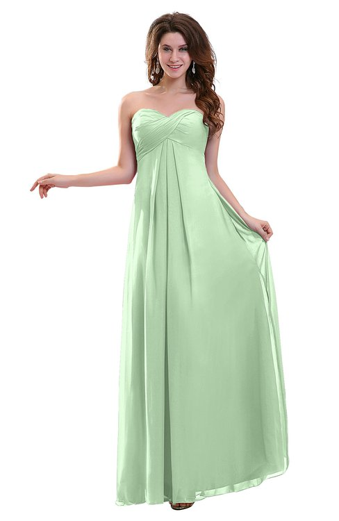 9c3ed4e9ff4 ColsBM Annalee Light Green Plain Sweetheart Sleeveless Backless Chiffon  Floor Length Bridesmaid Dresses
