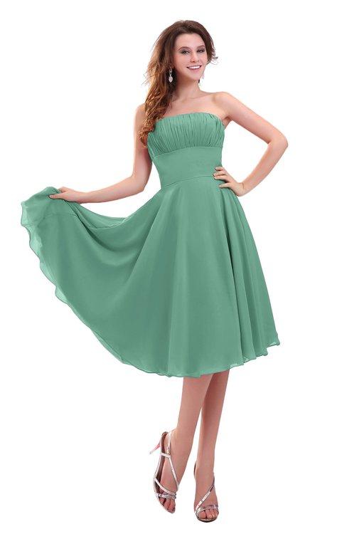 ColsBM Lena Beryl Green Plain Strapless Zip up Knee Length Pleated Prom Dresses