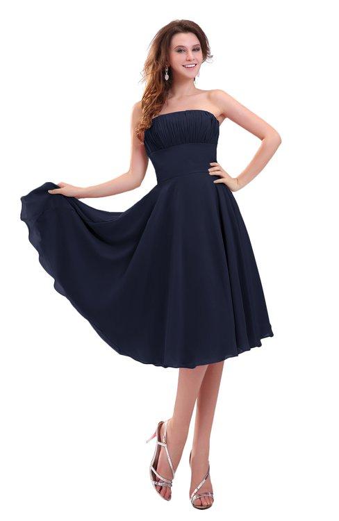ColsBM Lena Dark Sapphire Plain Strapless Zip up Knee Length Pleated Prom Dresses
